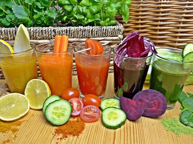 A group of fruit and vegetable juice