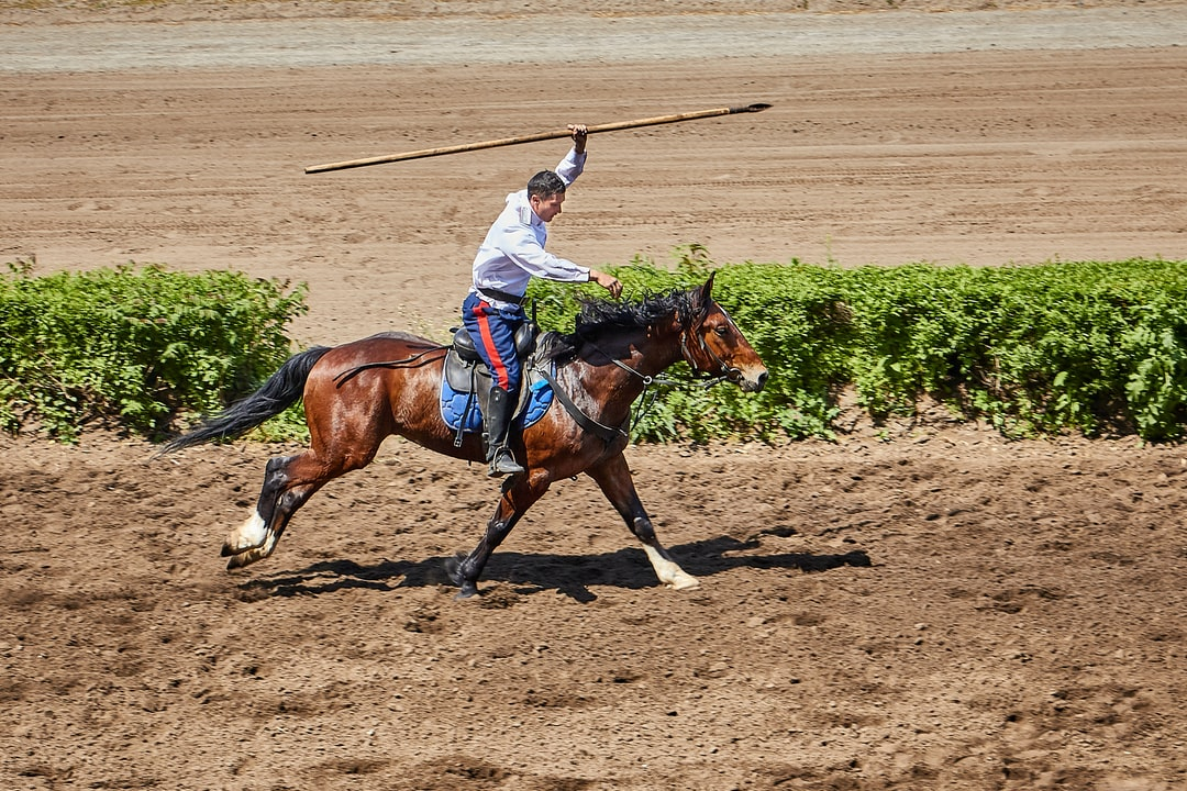 A man riding a horse in the dirt