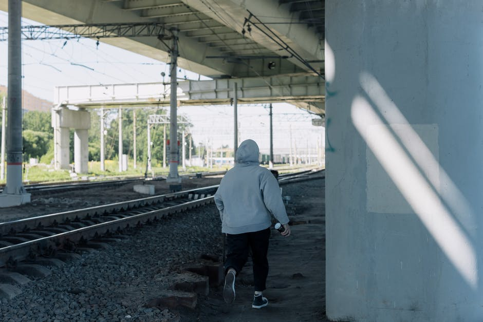 A man standing on a train track
